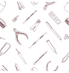 Manicure equipment seamless pattern hand drawn vector