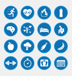 Healthy lifestyle concept icons with blue button vector