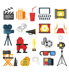 Flat style set of cinema icon vector