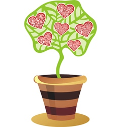 Tree with hearts valentines day card vector