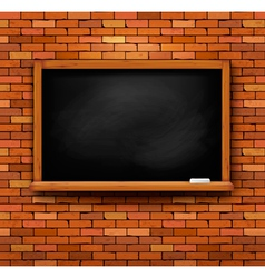 Brick wall with a blackboard vector