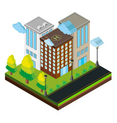 3d design for three buildings on road vector