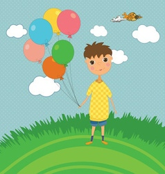Boy outdoors with balloons vector