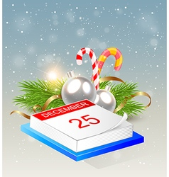 Christmas background with calendar vector image