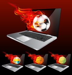 Laptop burning vector