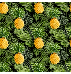 Tropical palm leaves and pineapples background vector
