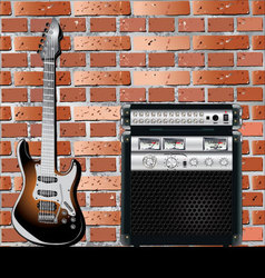 Guitar and Brick wall background vector image