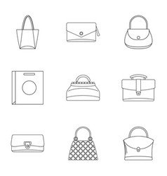 Bags for all occasions icon set outline style vector