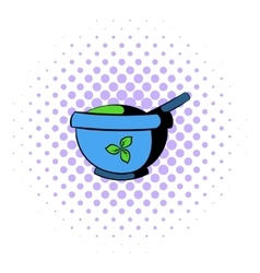 Blue mortar and pestle icon comics style vector
