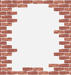 Broken brown brick wall grunge texture background vector image