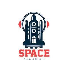 creative logo design of cosmic shuttle scientific vector image