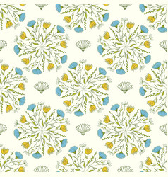 Cute spring pattern with blue and yellow flowers vector