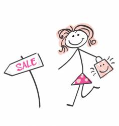 doodle sale girl vector image vector image