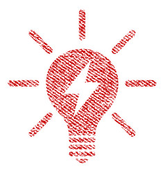Electric light bulb fabric textured icon vector