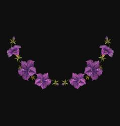 embroidery crewel floral petunia neckline vector image vector image