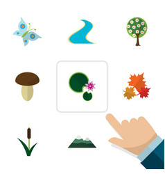 Flat icon ecology set of lotus peak champignon vector