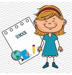 girl cartoon school student icon vector image vector image