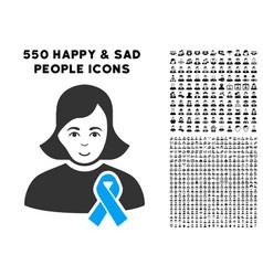 Girl with sympathy ribbon icon with bonus vector