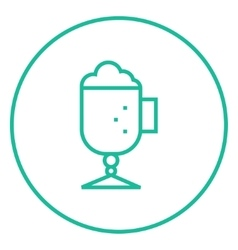 Glass mug with foam line icon vector image vector image