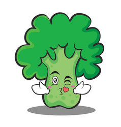 Kissing heart broccoli chracter cartoon style vector