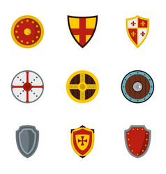 Medieval armour icons set flat style vector