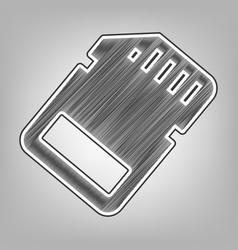 Memory card sign pencil sketch imitation vector