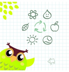 recycle owl vector image vector image