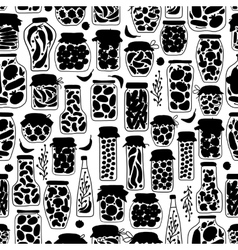 Seamless pattern with pickle jars fruits and vector image