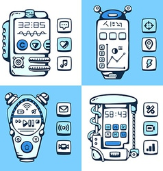 Set of detailed phones of the future with vector image vector image