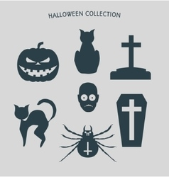Set of silhouettes for halloween party vector