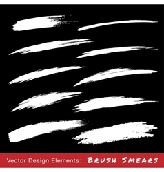 Set of white hand drawn grunge brush smears vector