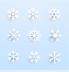 Snowflake winter set of white isolated on blue vector