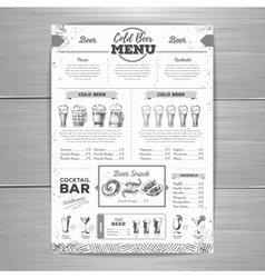 Vintage beer menu design vector