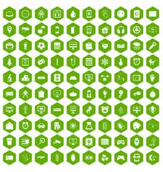 100 app icons hexagon green vector image vector image