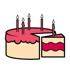 Birthday party celebration cake icon vector