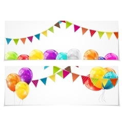 Color glossy balloons card set background vector