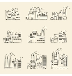 Hand drawn industrial factory buildings set vector