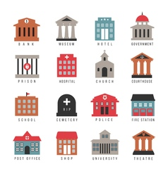 Government building colored icons municipal city vector