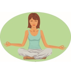 Serene woman in meditation position vector
