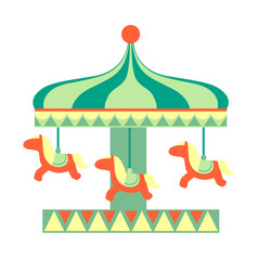 Merry-go round with horses ride part of amusement vector