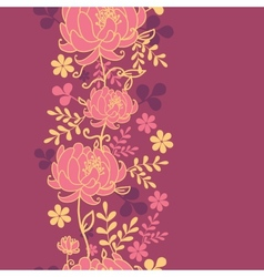 Red flowers and leaves vertical seamless pattern vector image