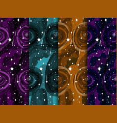 watercolor space with stars is a seamless pattern vector image