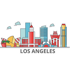 los angeles city skyline buildings streets vector image