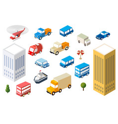 Set auto cars of different sizes multicolor vector