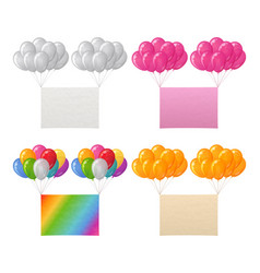 set of balloons bunches with paper sheets vector image