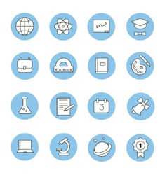 Education and learning flat thin line icons set vector