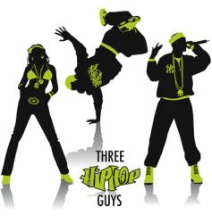 hip-hop silhouettes vector image