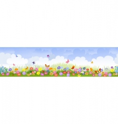 Herbaceous border panorama vector
