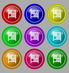 Bookshelf icon sign symbol on nine round colourful vector