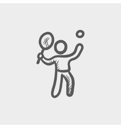 Tennis player in serving position sketch icon vector